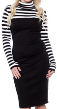 Load image into Gallery viewer, SMAK PARLOUR- STRIPED TURTLE NECK MOCK DRESS