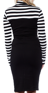 SMAK PARLOUR- STRIPED TURTLE NECK MOCK DRESS