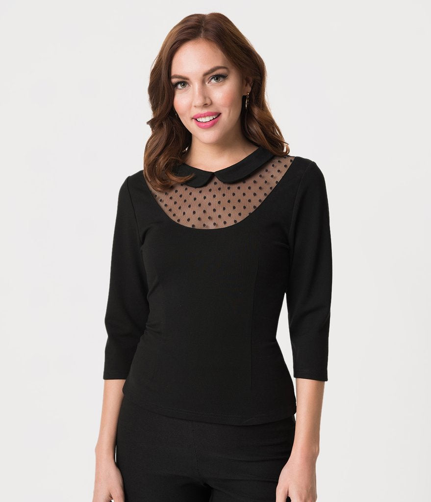 UNIQUE VINTAGE- BLACK MESH TOP