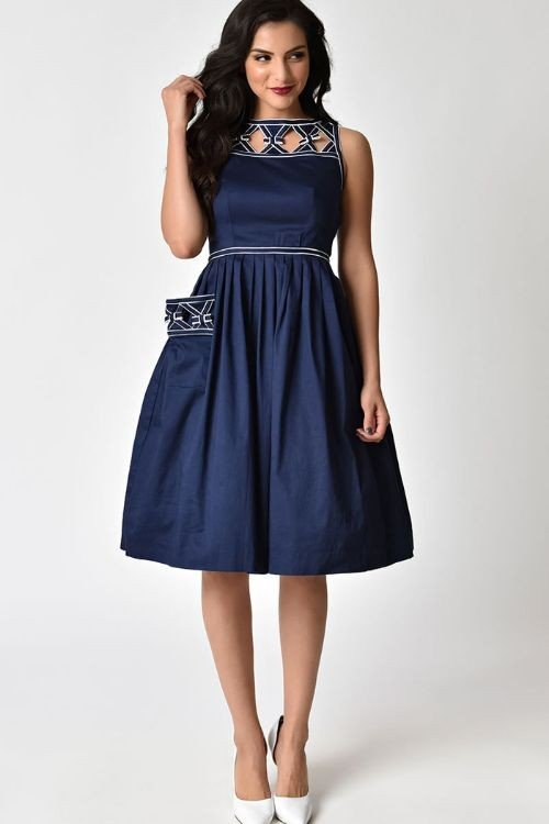 UNIQUE VINTAGE- NAUTICAL SWING DRESS