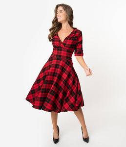 UNIQUE VINTAGE- RED & BLACK PLAID SWING DRESS