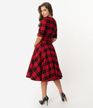 Load image into Gallery viewer, UNIQUE VINTAGE- RED & BLACK PLAID SWING DRESS