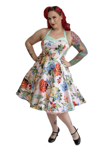 VIVACIOUS VIXEN- TROPICAL HALTER DRESS