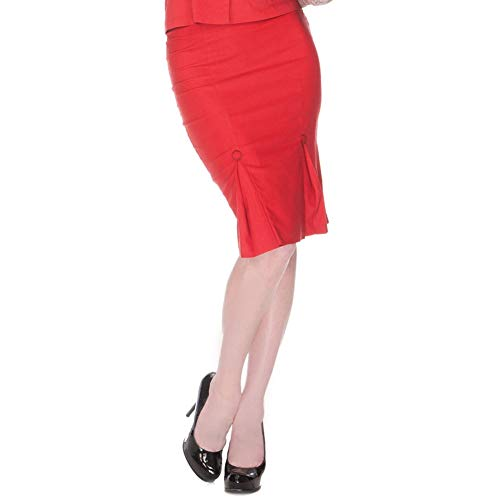 VOODOO VIXEN- RED PLEAT PENCIL SKIRT