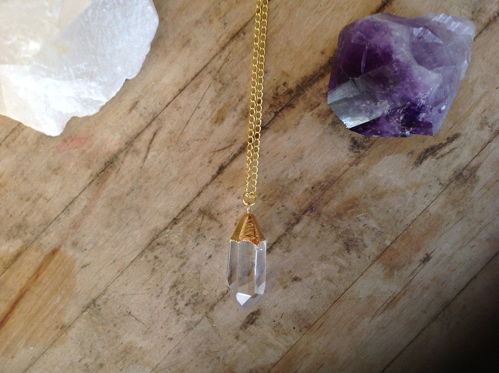Gold Plated Double Terminated Quartz Crystal Pendant Necklace