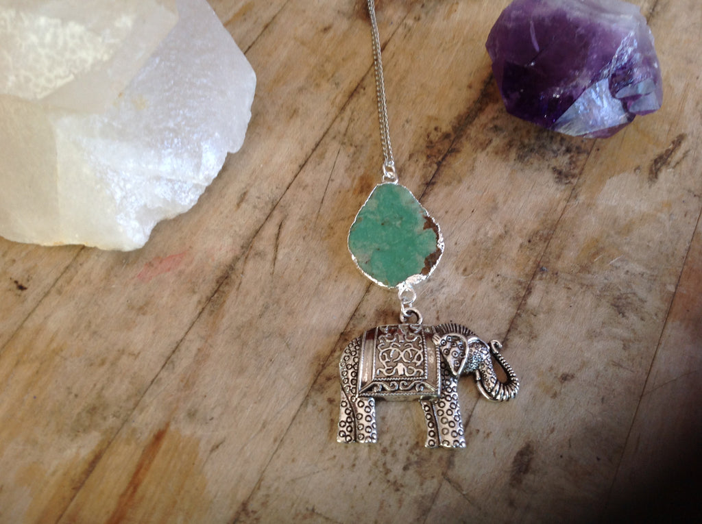 Silver-Plated Agate with Elephant Charm Necklace