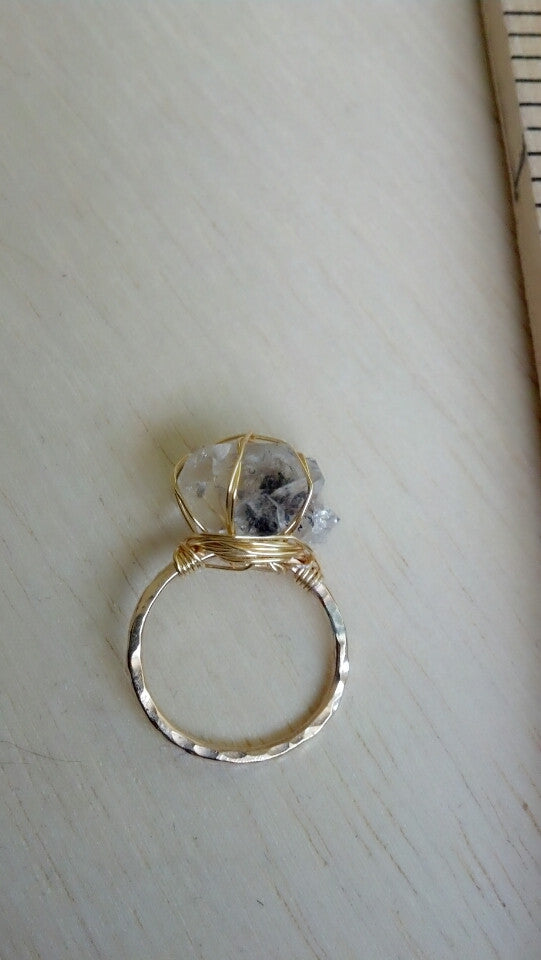 Wire-Wrapped Herkimer Diamond Ring