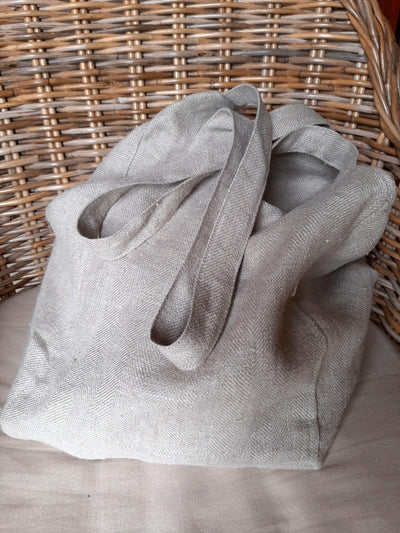 Linen Bag Natural on chair