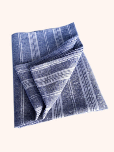 Linen Bath Sheet Multistripe Indigo