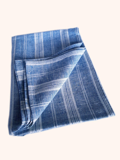 Linen Bath Sheet Multistripe Marine Blue
