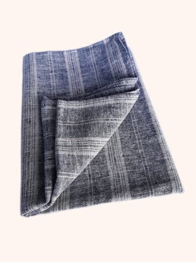 Linen Bath Sheet Multistripe Black Natural