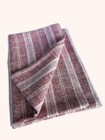 Linen Bath Sheet Multistripe Cherry