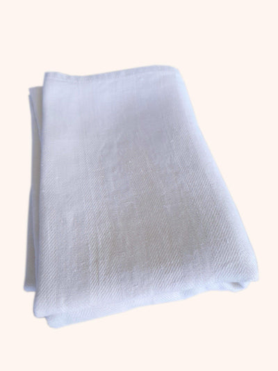 Linen Bath Towel Huckaback White Striped folded