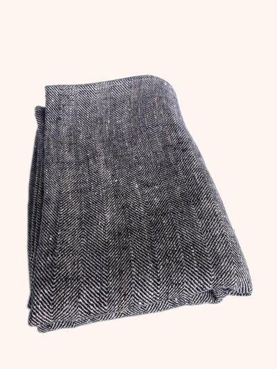 Linen Bath Towel Chevron Black