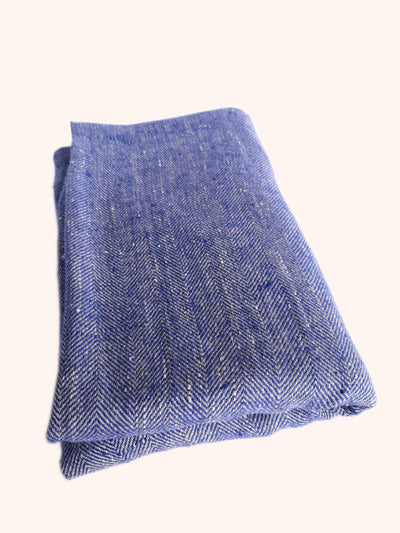 Linen Bath Towel Chevron Indigo Natural