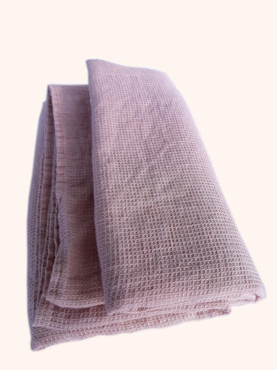 Linen Bath Towel Washed Waffle Blush Rose