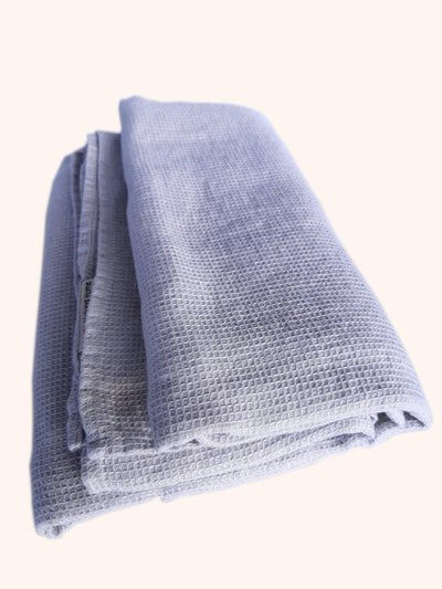 Linen Bath Towel Washed Waffle Silver