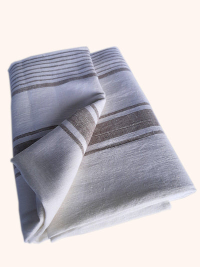 Linen Beach Towel Tuscany Off White Grey