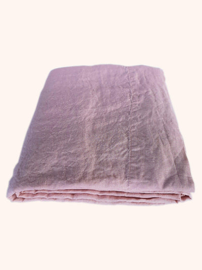 Linen Flat Sheet Blush Rose