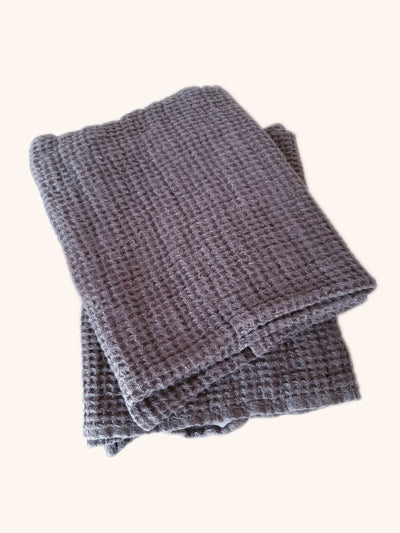 Image of Linen Hand Towel Set Waffle Thick - Steel Grey - Simply Natural Home. Pure linen lightweight hand towel set, highly absorbent, quick drying and easy to care for. Perfect for babies and people with sensitive skin!