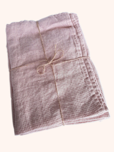 Linen Hand Towel Set Washed Waffle Blush Rose