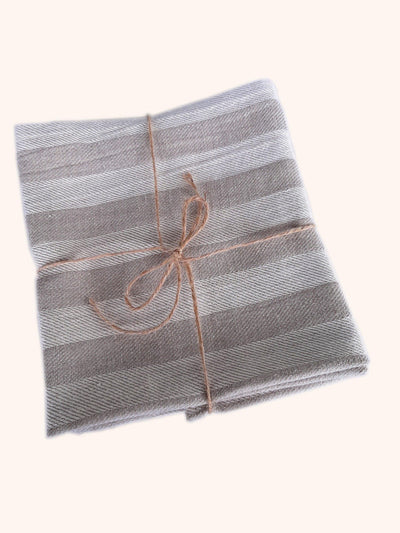Linen Hand Towel Set Natural Striped