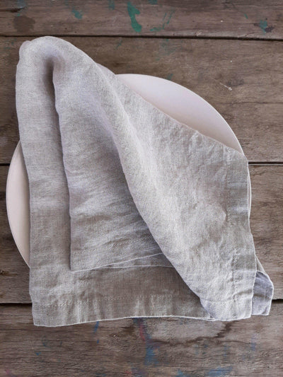 Linen Napkin Stonewashed Natural on table