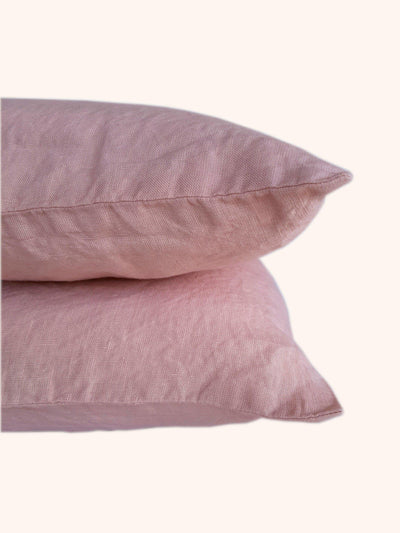 Linen Pillow Case Set Blush Rose