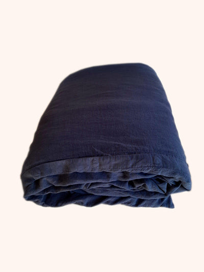 Linen Quilt Cover Navy folded