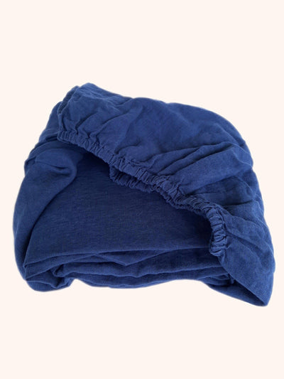 Linen Fitted Sheet Navy