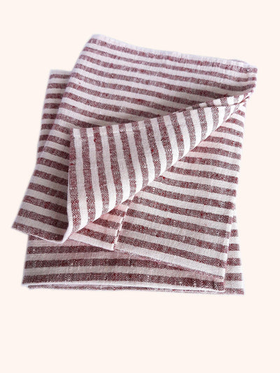 Linen Tea Towel Set Brittany Cherry
