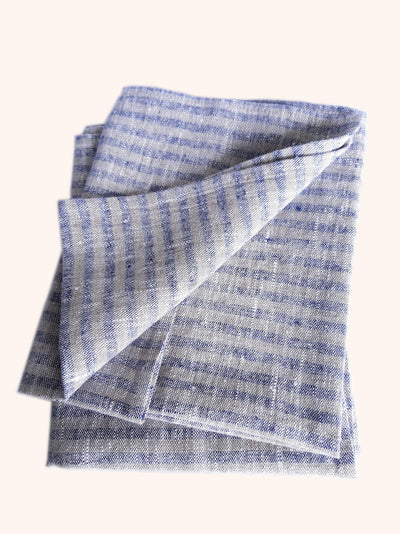 Linen Tea Towel Set Brittany Indigo Natural