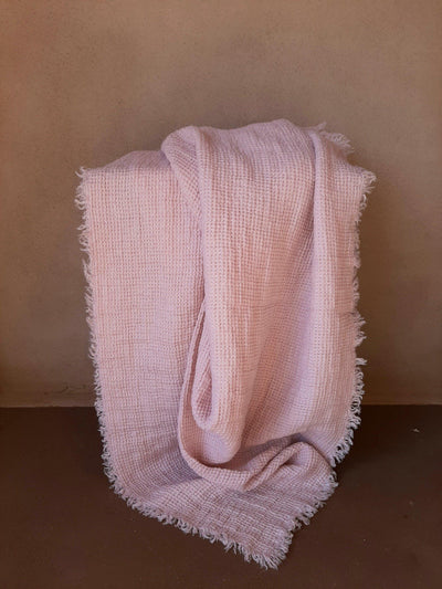 Natural Linen Throw with fringe blush rose