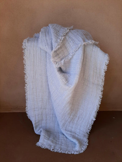 Natural Linen Throw with fringe ice blue