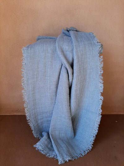 Natural Linen Throw with fringe stone blue