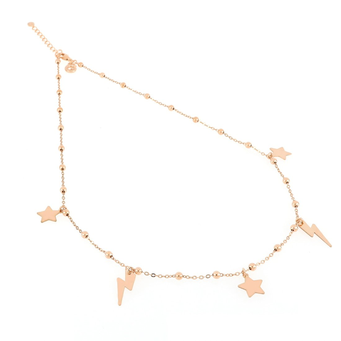 Collana in oro rosa con stelle e fulmini alternati