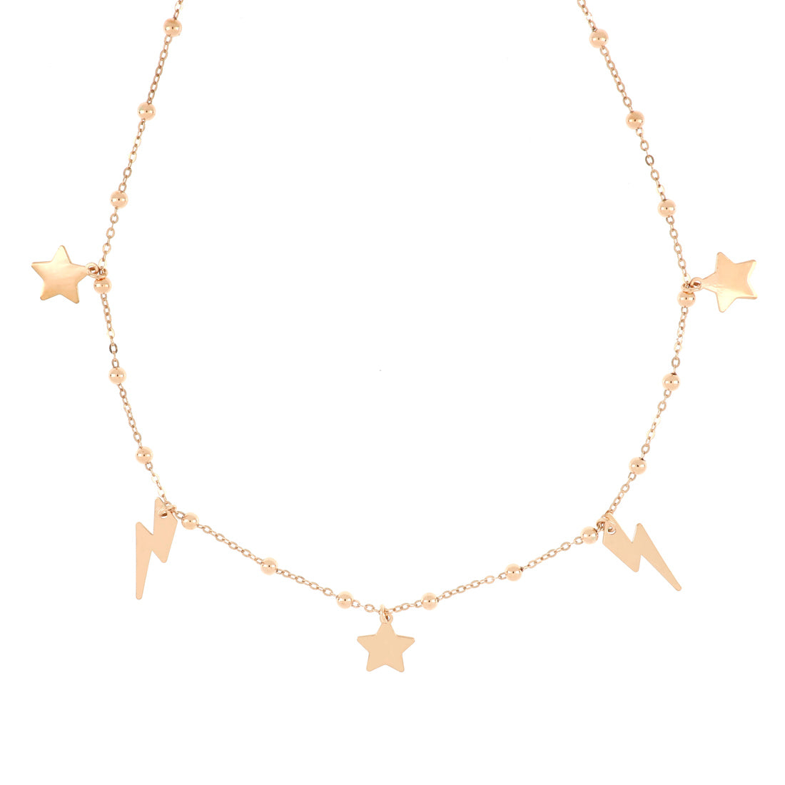 Collana in oro rosa con stelle e saette alternati