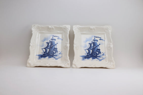 Vintage Galleon Ship Porcelain Wall Plaques