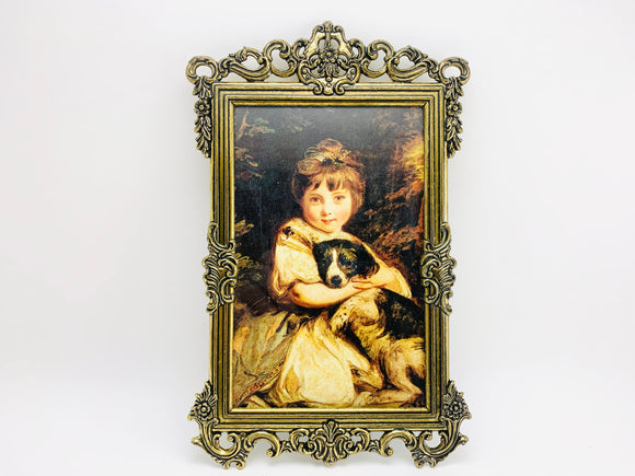 1960's Italian Ornate Metal Framed Portrait Print of a Young Girl With her Dog