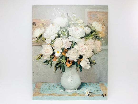 Vintage Litho on Textured Board, Peonies & Roses by DYF