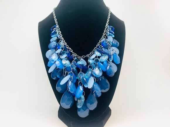 Vintage Blue Acrylic Teardrop Statement Necklace
