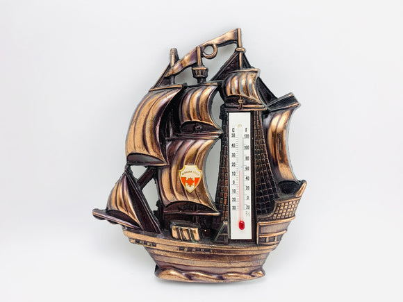 1950's Galleon Sailing Ship Thermometer Niagara Falls Souvenir