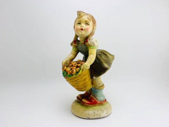 1920's Italian Chalkware Girl with Apples Figurine
