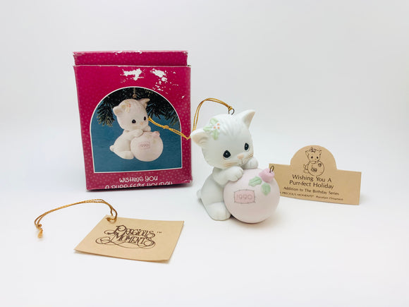 "1990 Enesco Precious Moments Ornament "" Wishing You a Purr-fect Holiday"""