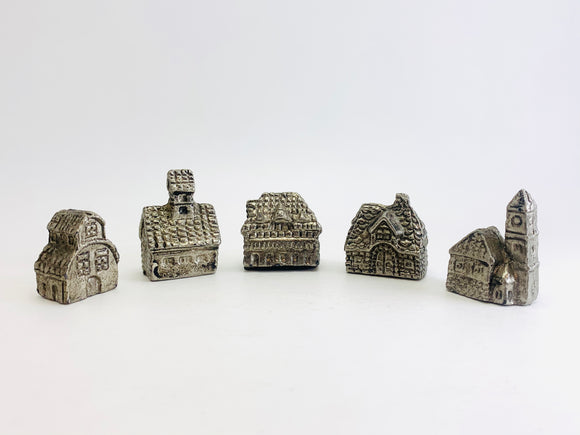 1960-80's Cast Pewter Miniature Village Buildings