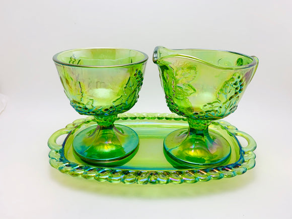 1970's Indiana Carnival Glass, Green Harvest Cream and Sugar Set