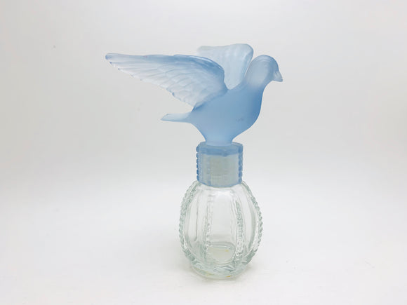 Vintage Delagar Royal Dove Glass Perfume Bottle with Blue Bird Lid