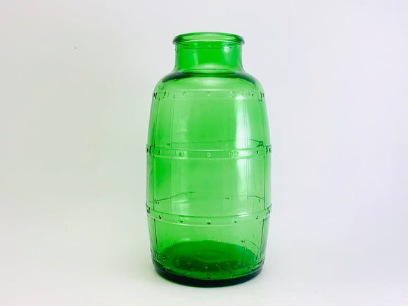 1973 Mickeys Malt Liquor green Glass Barrel Bottle, Anchor Hocking