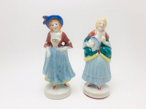 2 Vintage Small Colonial Women Figurines