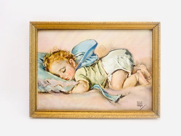 Vintage Small Framed Lithograph, Fast Asleep by Maud Tousey Fangel